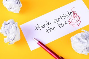 """Paper with """"think outside the box"""" t"""