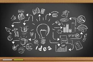 3d blackboard with innovation sketch