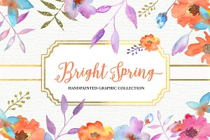 Watercolor Floral Blooms Clipart Set
