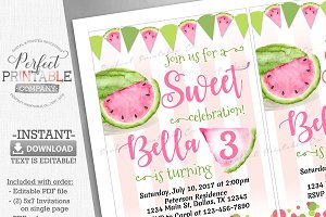 Watermelon Birthday Party Invitation