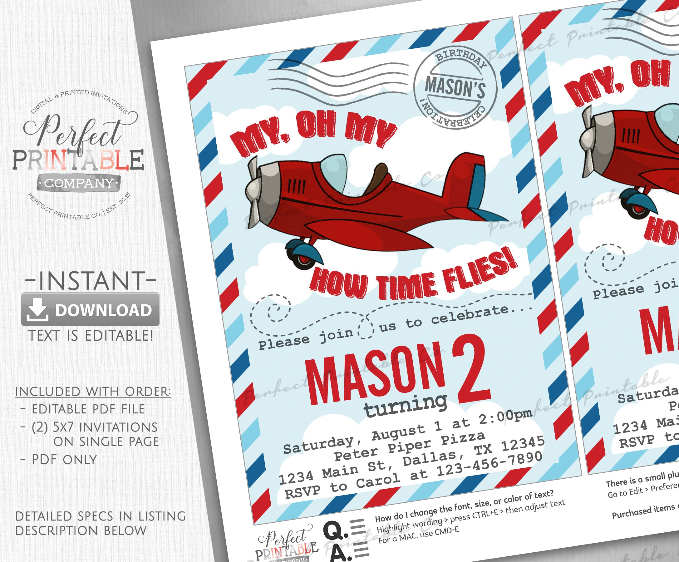 Airplane Birthday Party Invitation ~ Invitation Templates ~ Creative ...