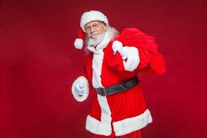 Christmas. Kind and tired Santa