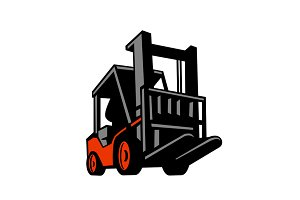 Forklift Truck Low Angle Retro