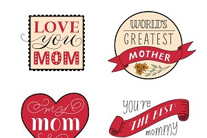 Mothers Day Festive Labels Set