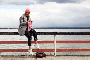 Woman knitting hat