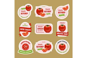 Cartoon Tomato Badges or Labels Set.