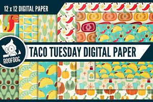 Tacos and tequilas digital paper
