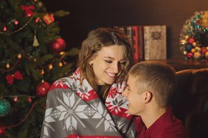 Loving couple celebrates Christmas