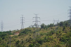 High voltage power line. Philippines