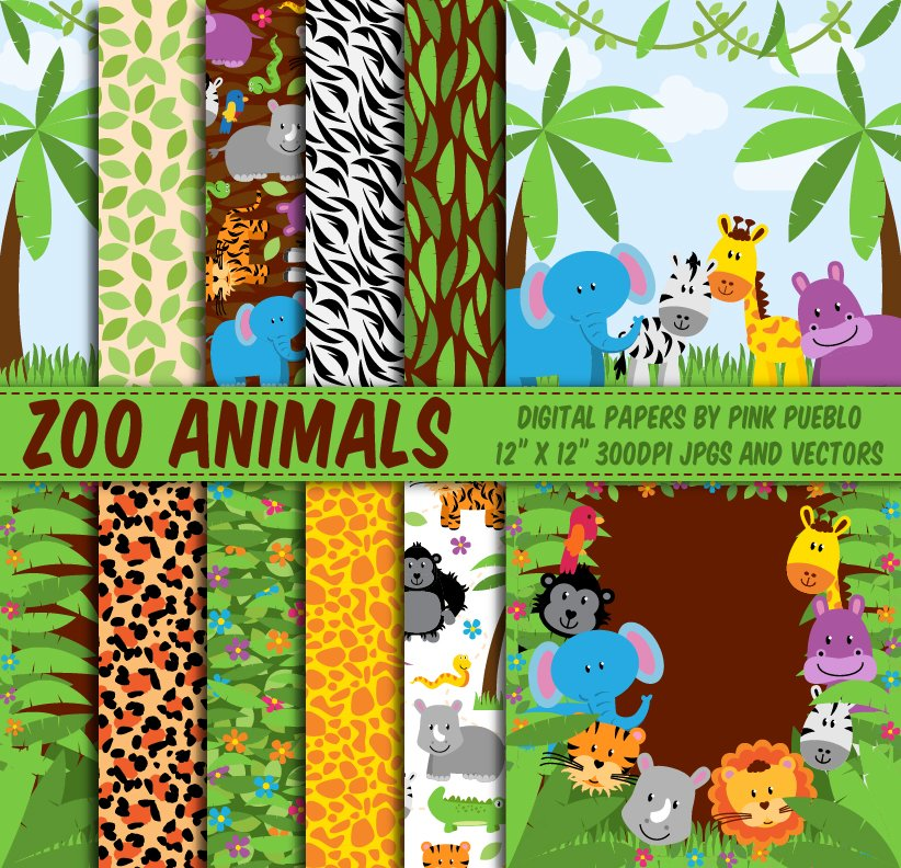 Zoo Animal Patterns And Backgrounds Graphic Patterns Creative Market Unique Animals With Patterns