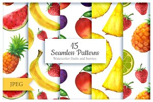 Fruits and berries seamless patterns