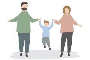 family holding hands illustration