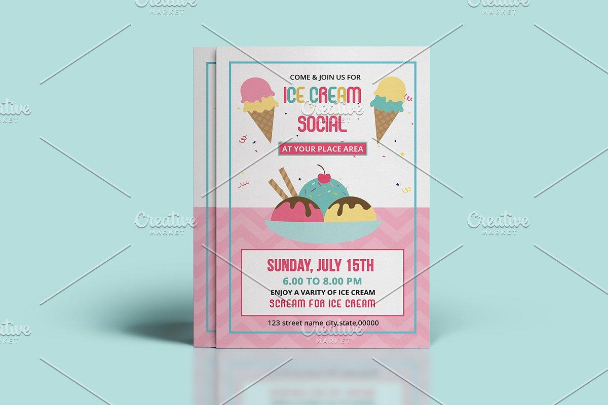 Ice Cream Party Flyer Template V838 Flyer Templates Creative Market