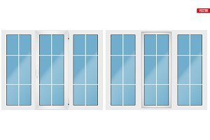 PVC window with three sash