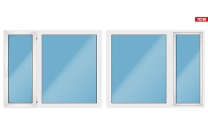 PVC window with two sash