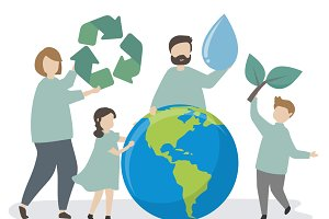 Family caring about the environment