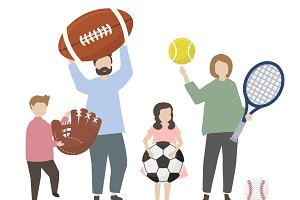 People holding sports equipments