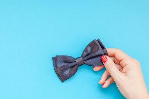 Black bow tie woman hand for men fat
