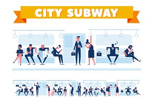 City subway vector set