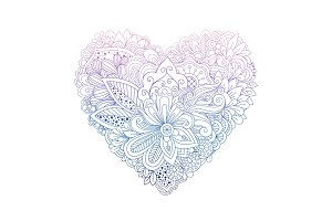 Colorful floral doodle heart shape