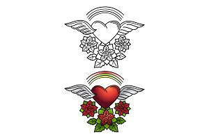 Rainbow, heart and floral ornament