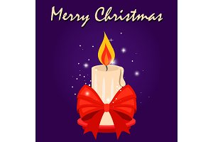 Christmas card with candle and red
