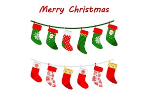Christmas socks garlands icons on