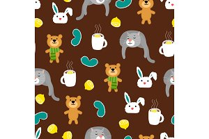 Cozy autumn seamless pattern with