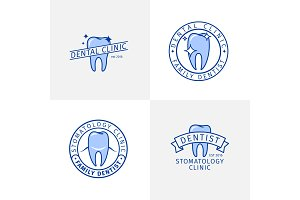 Dental clinic blue outline logo