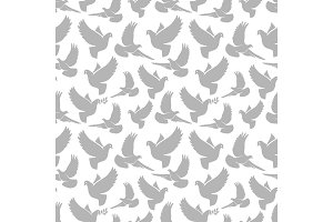 Dove grey silhouettes on white