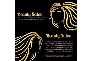 Gold girls hair silhouettes salon