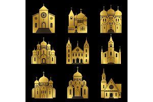 Gold christian church icons on black