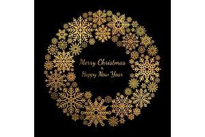 Gold snowflake Christmas wreath