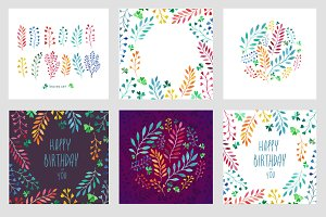 colorful leaves in watercolor, cards