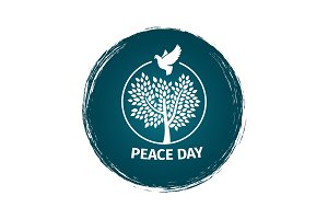 Grunge peace day logo with dove and