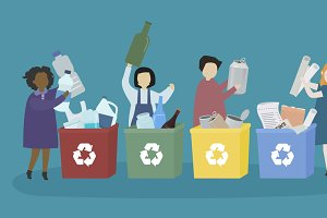 Students learn recyclable materials