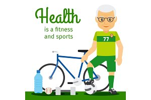 Old man and sport equipments