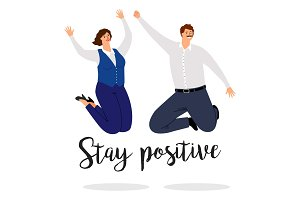 Stay positive a poster with jumping