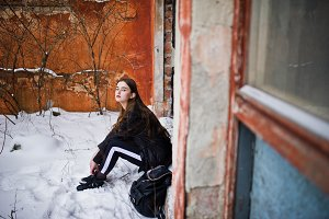 Fashionable long legs brunette model