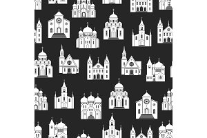 White church seamless pattern on