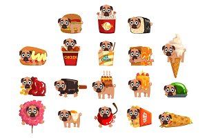 Cute funny pug dog character as