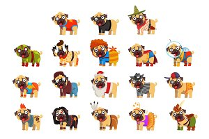 Cute funny pug dog character in