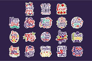 Inscriptions about love set, design