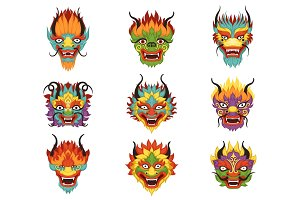 Chinese dragon heads set, Chinese