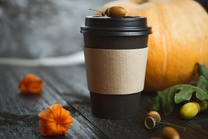 Pumpkin coffee to go in paper cups ,