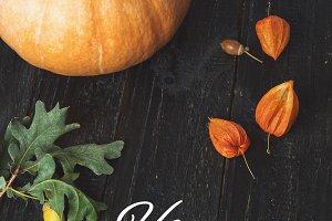 Happy thanksgiving with pumpkin, aco