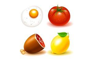 Food icons beef tomat lemon