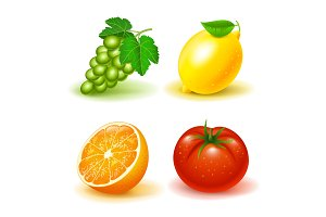 Vector image set icons of fruits and
