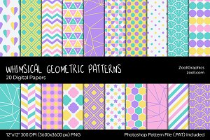 Whimsical Geometric Digital Papers