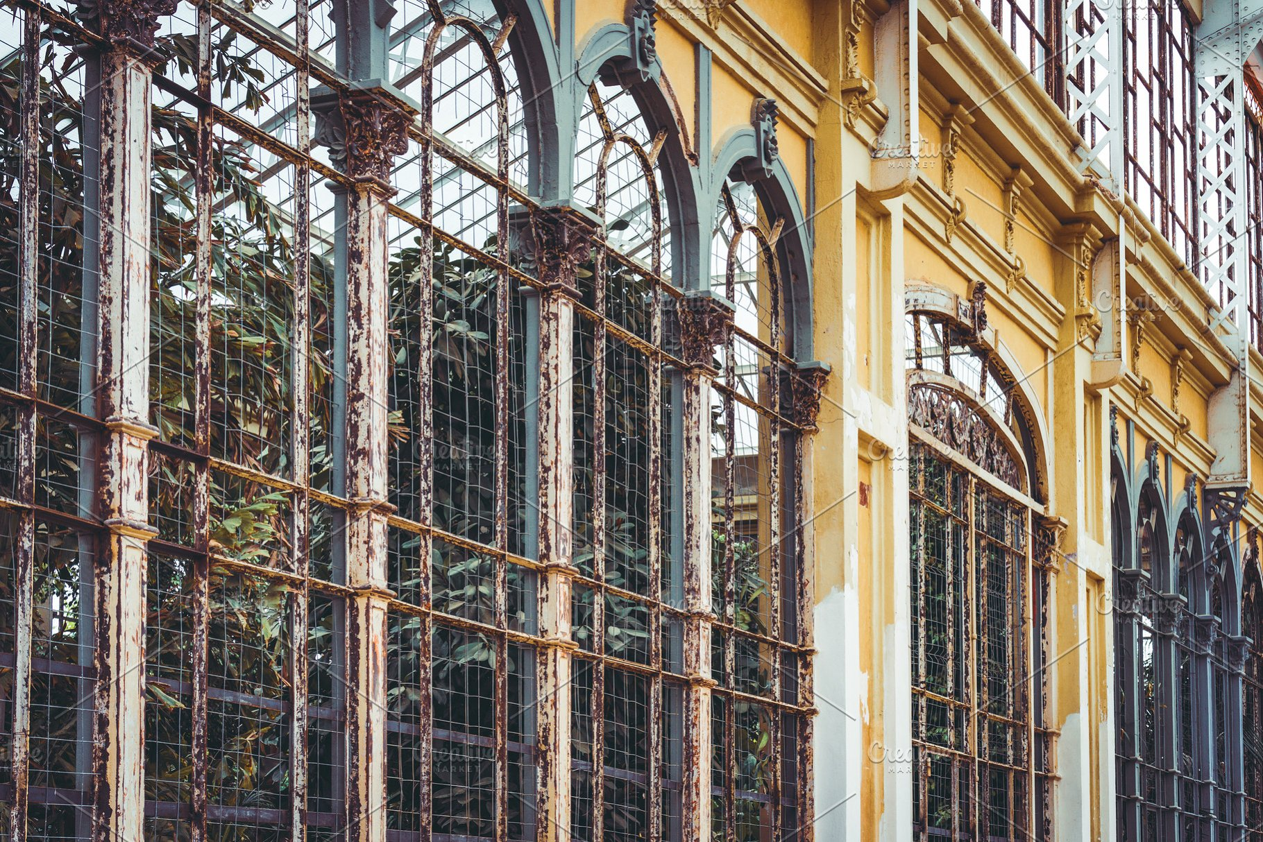 Arches of an old rusty greenhouse